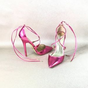 NWOT BEBE Pink Ankle Lace Pointed Toe Heel…